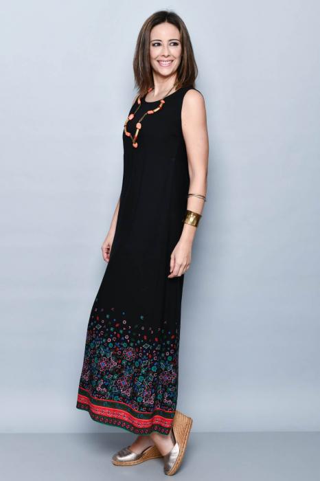 Rochie lunga neagra cu imprimeu - 08.VER21-1032 2