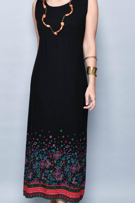Rochie lunga neagra cu imprimeu - 08.VER21-1032 3