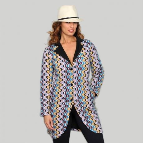 Jacheta colorata cu revere negre [0]