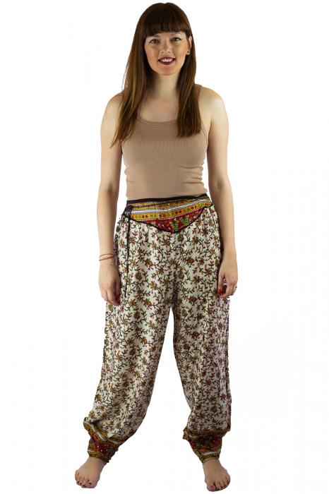 Pantaloni lejeri de vara albi cu floricele - J101 0