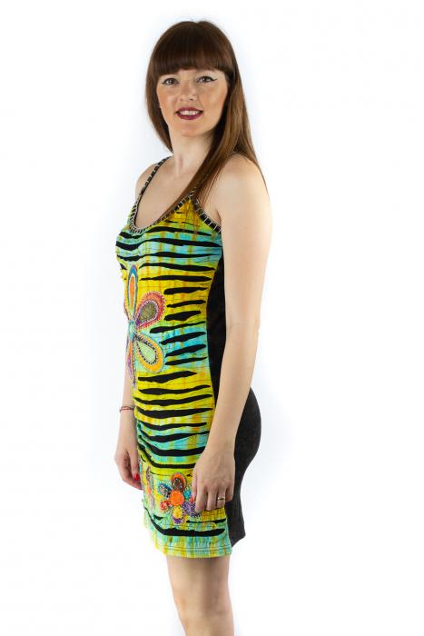 Rochie din bumbac multicolora - Razor cut - Negru 1