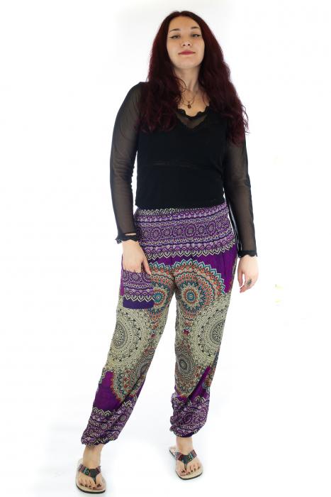 Pantaloni Jasmine cu print oriental - Model 1 0