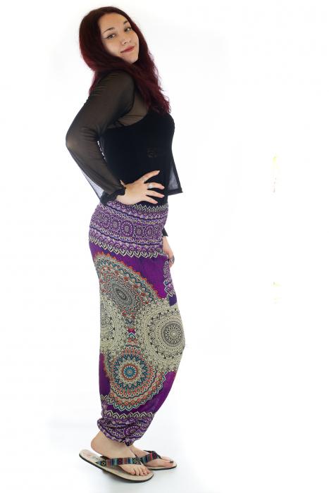 Pantaloni Jasmine cu print oriental - Model 1 2