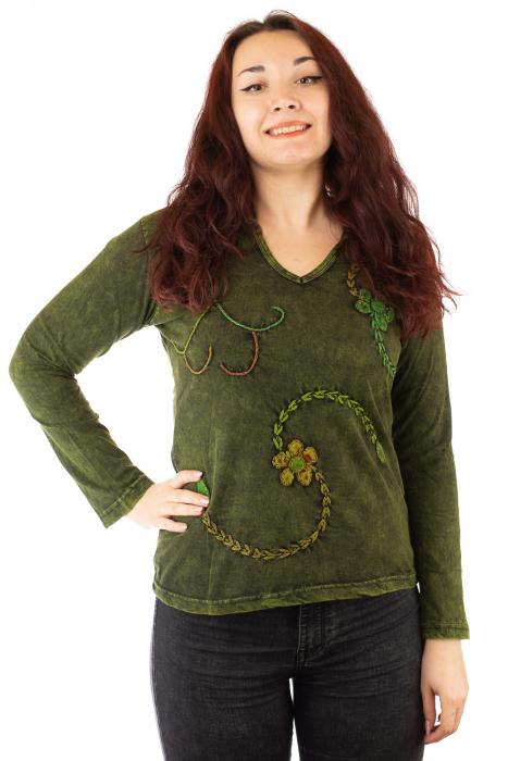 Bluza din bumbac verde cu modele cusute 0