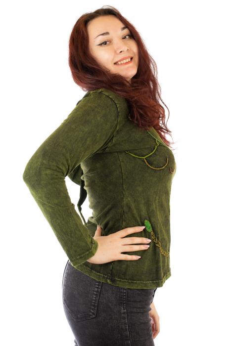Bluza din bumbac verde cu modele cusute 1