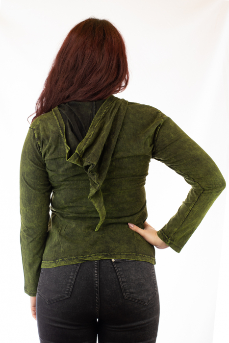 Bluza din bumbac verde cu modele cusute 2
