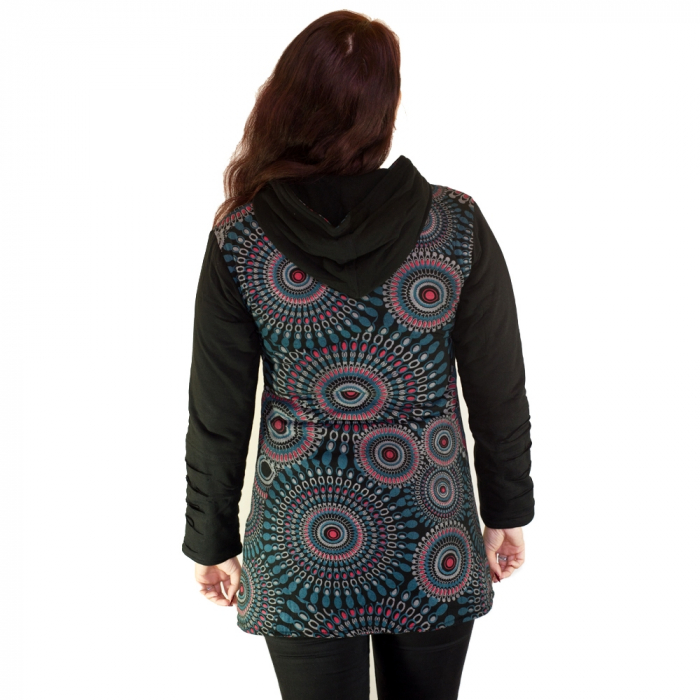 Jacheta femei – negru&mandale multicolore HI 2092A 2