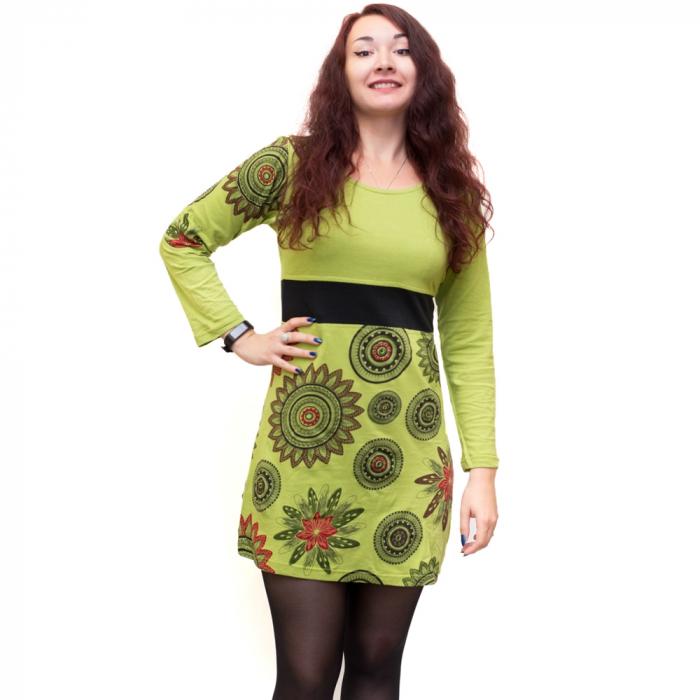 Rochie din bumbac verde cu mandala florala 0