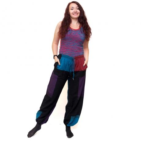 Pantaloni tip salvari, albastru, rosu si mov - Dusk 0