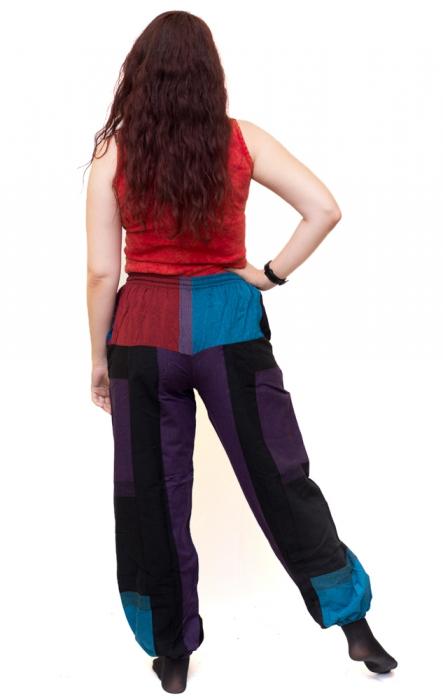 Pantaloni tip salvari, albastru, rosu si mov - Dusk 2