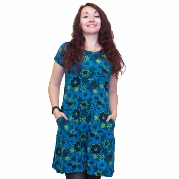 Rochie albastra cu flori 0
