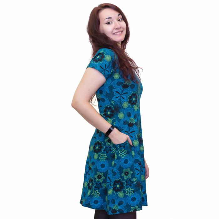 Rochie albastra cu flori 1