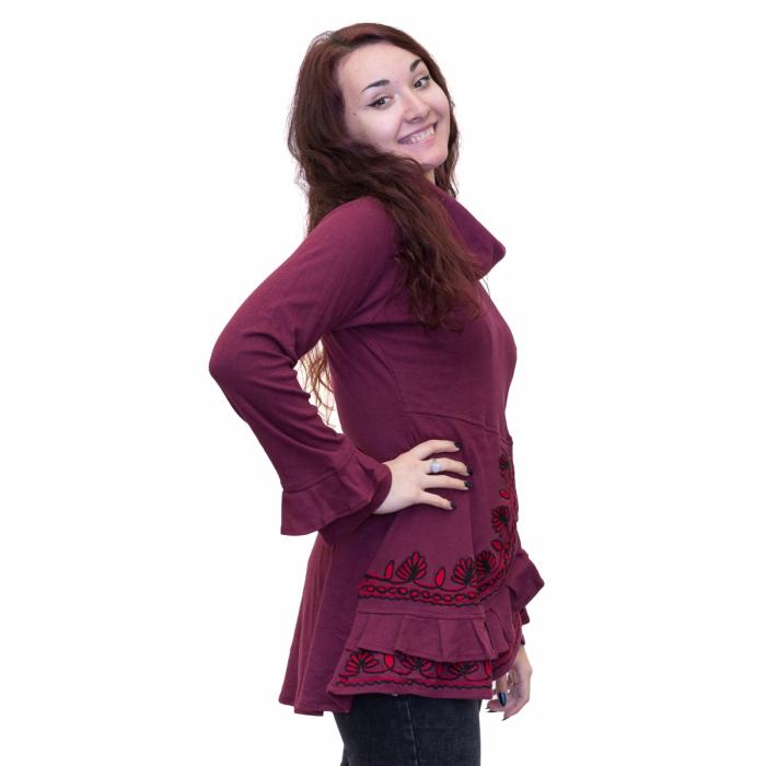 Bluza burgundy cu guler 1