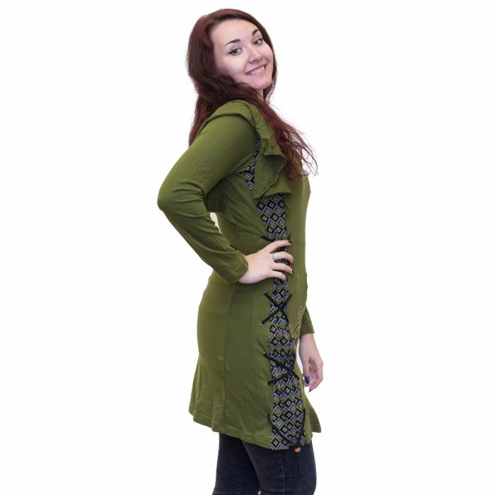 Rochie verde din bumbac cu broderie 1