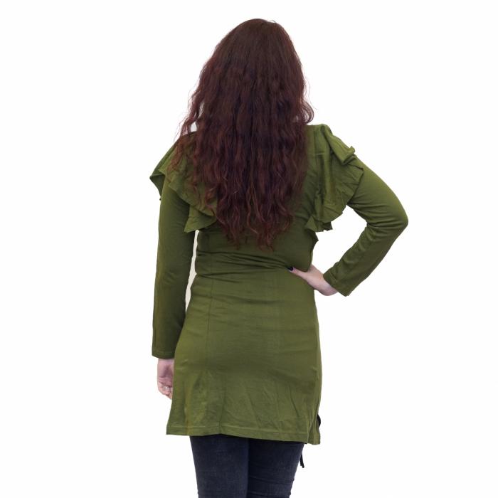 Rochie verde din bumbac cu broderie 2