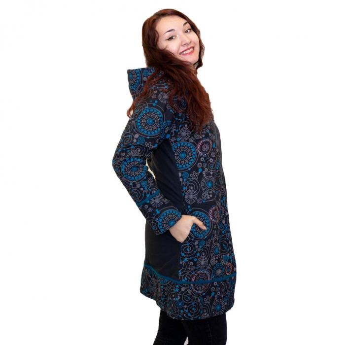 Jacheta de bumbac cu fermoar, print abstract – BLUE 1