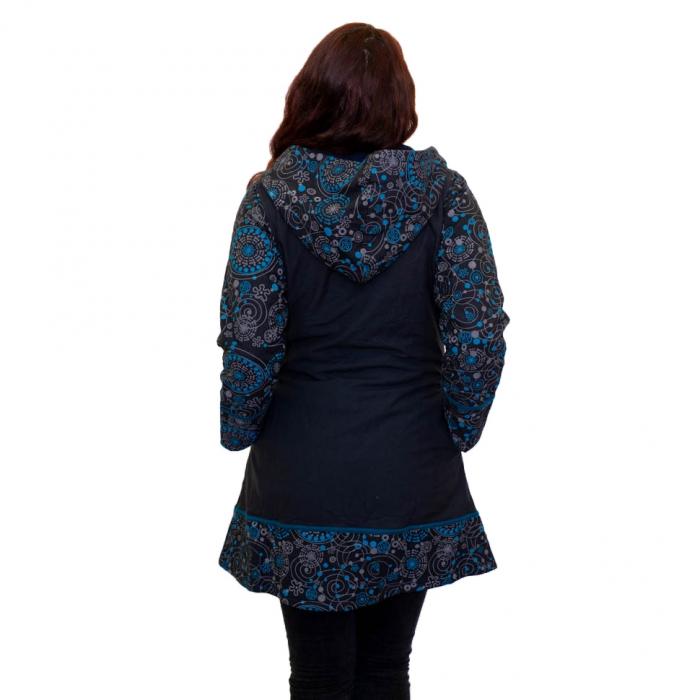 Jacheta de bumbac cu fermoar, print abstract – BLUE 2