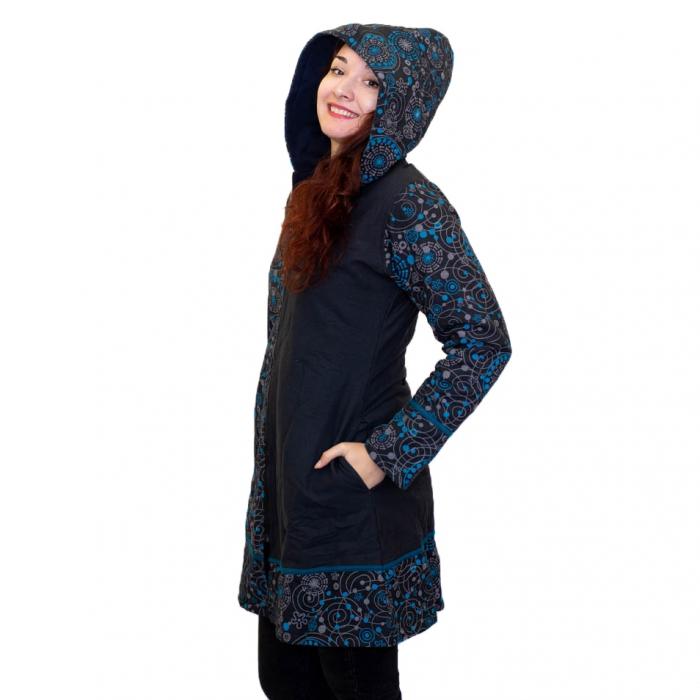 Jacheta de bumbac cu fermoar, print abstract – BLUE 3