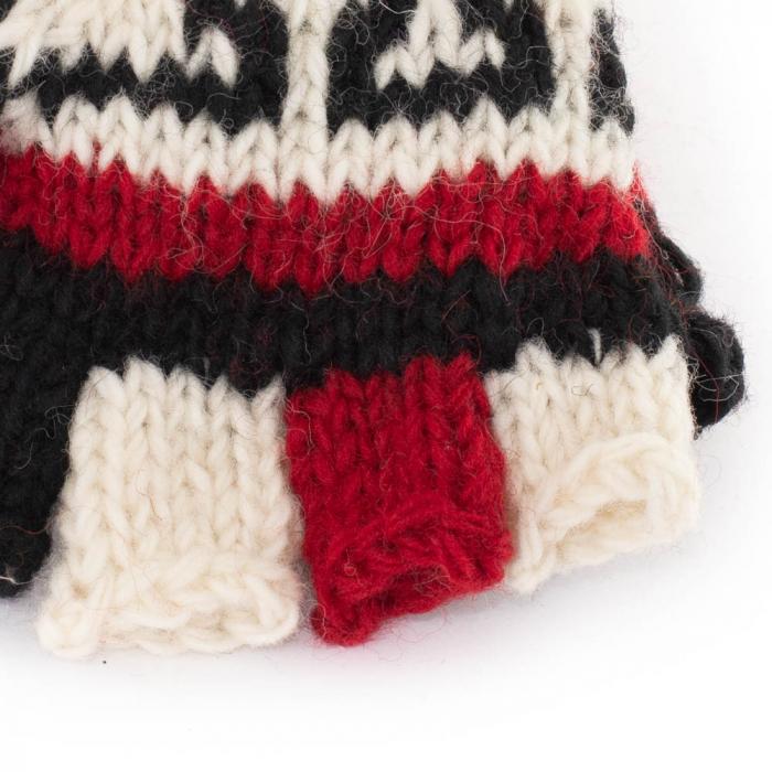 Manusi de lana fingerless - Red & Black 2 1