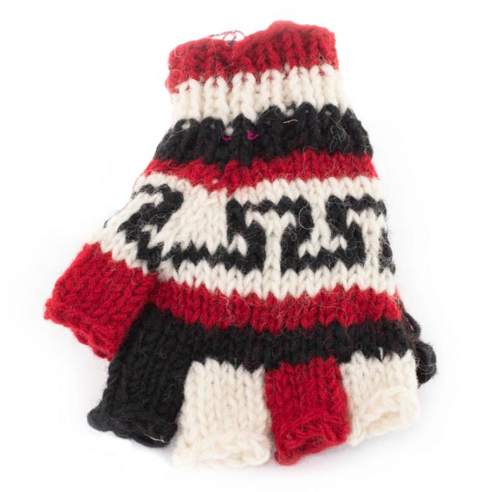 Manusi de lana fingerless - Red & Black 2 0