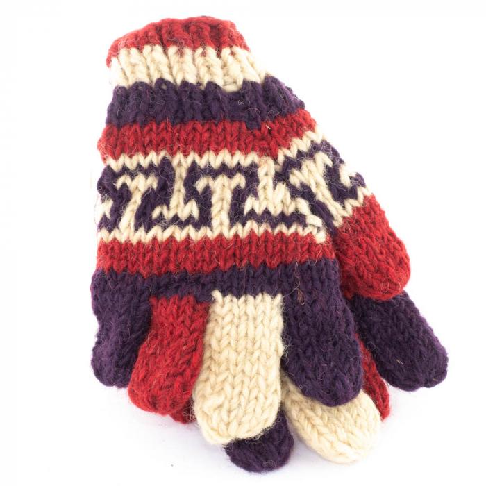 Manusi de lana fingerless - Red and purple 1