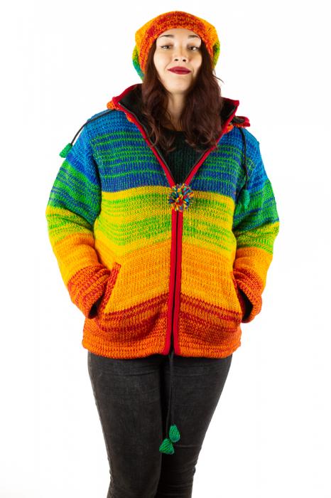 Jacheta din lana cu buzunare si captuseala polar- RAINBOW 3