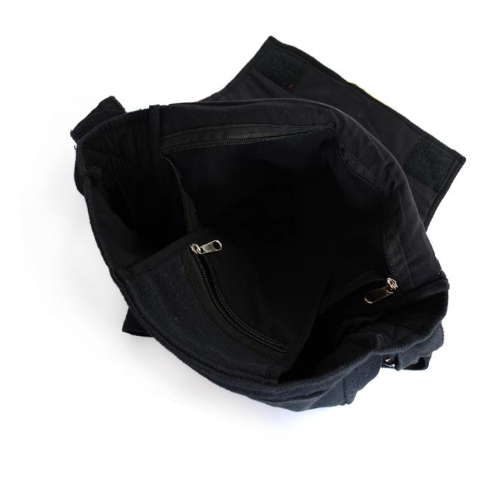 Geanta din canepa si bumbac model rasta pe negru 2