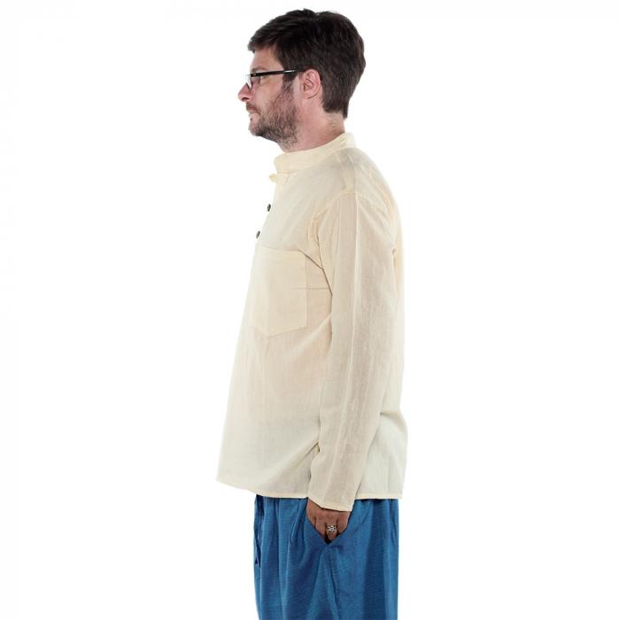 Camasa lejera de bumbac cu maneca lunga- ALB CREM 1