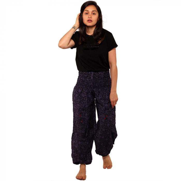 Pantaloni tip salvari - Flori mov 0