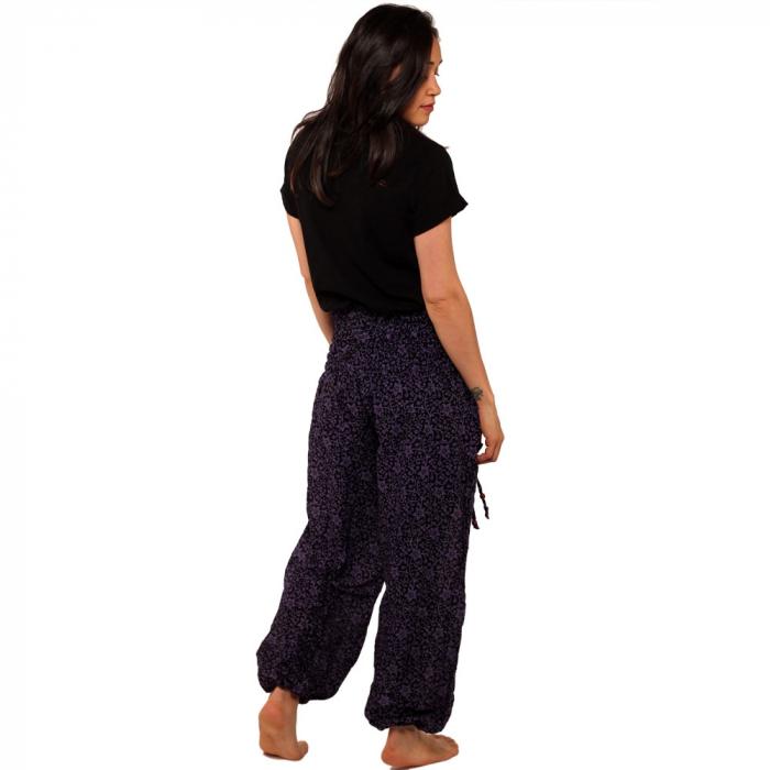 Pantaloni tip salvari - Flori mov 1