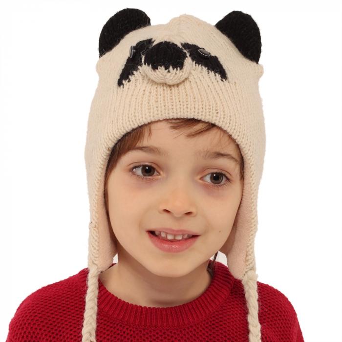 Căciula din lână copii - PANDA 1