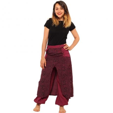 Salvari fusta/pantalon cu print geometric - BORDO 0
