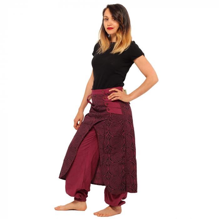 Salvari fusta/pantalon cu print geometric - BORDO 1