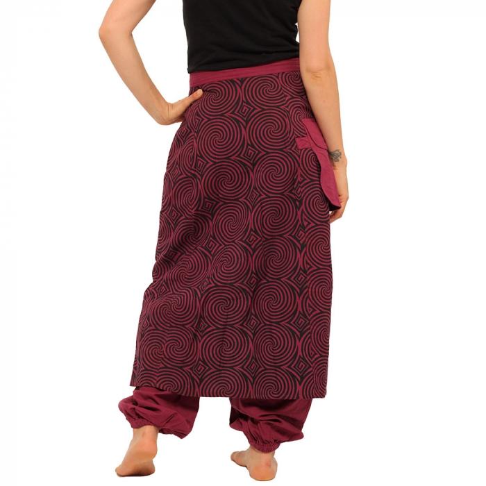 Salvari fusta/pantalon cu print geometric - BORDO 2