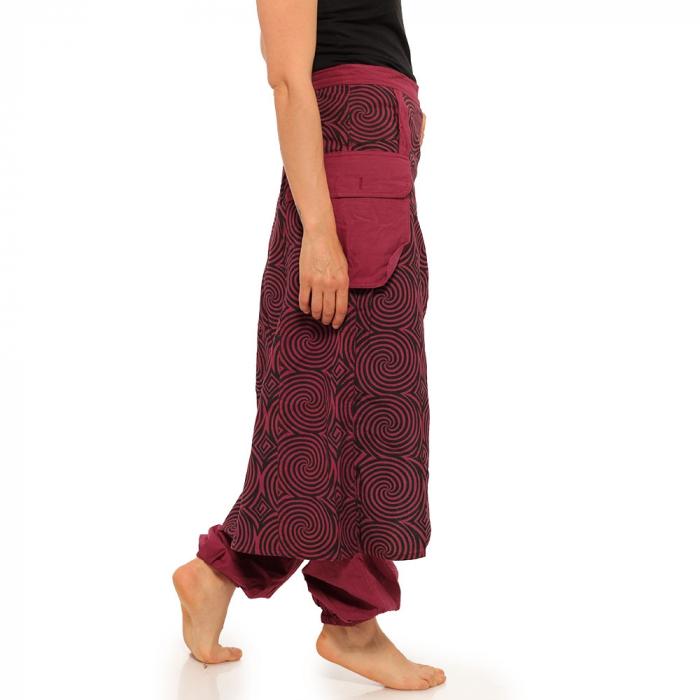 Salvari fusta/pantalon cu print geometric - BORDO 3