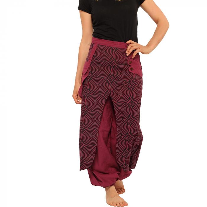 Salvari fusta/pantalon cu print geometric - BORDO 4