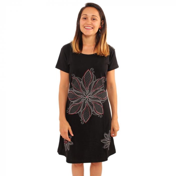 Rochie din bumbac cu flori gri broadate 0