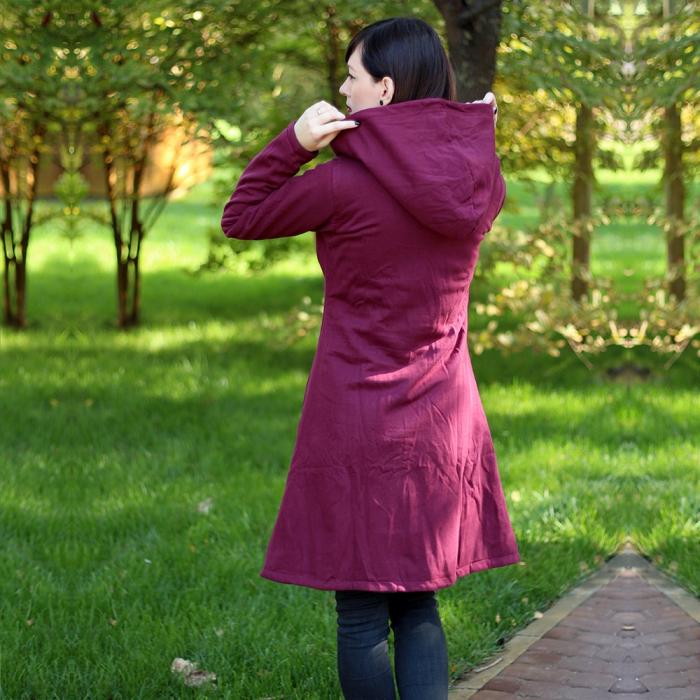 Jacheta din bumbac cu nasturi si fermoar - BORDO 2