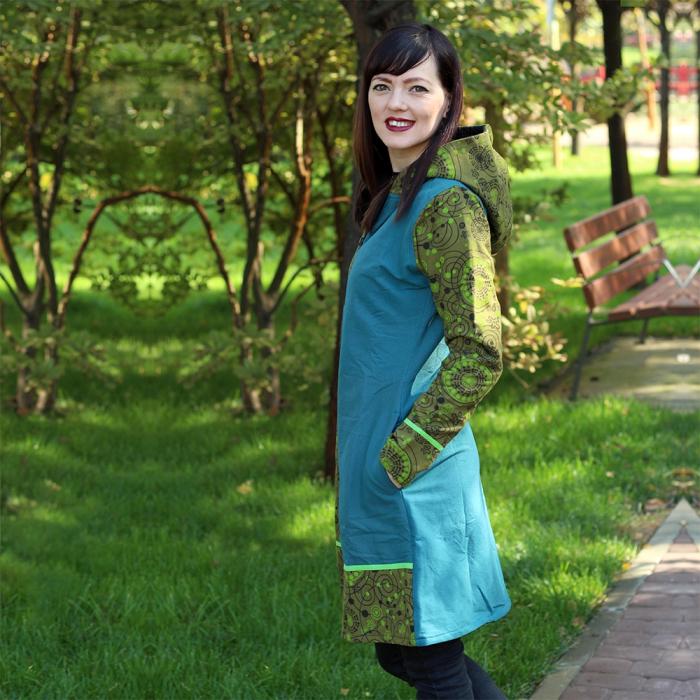 Jacheta de bumbac cu fermoar, print abstract – GREEN&BLUE 3