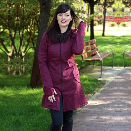 Jacheta de bumbac cu fermoar – BORDO 1