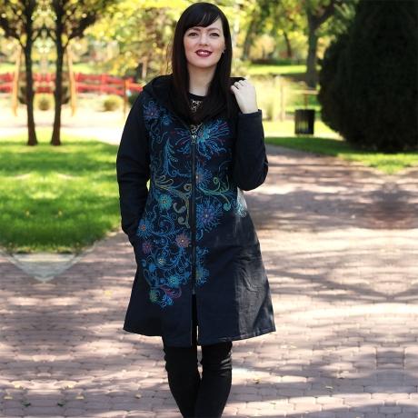 Jacheta de bumbac cu fermoar si broderie florala – BLEUEMARIN 0
