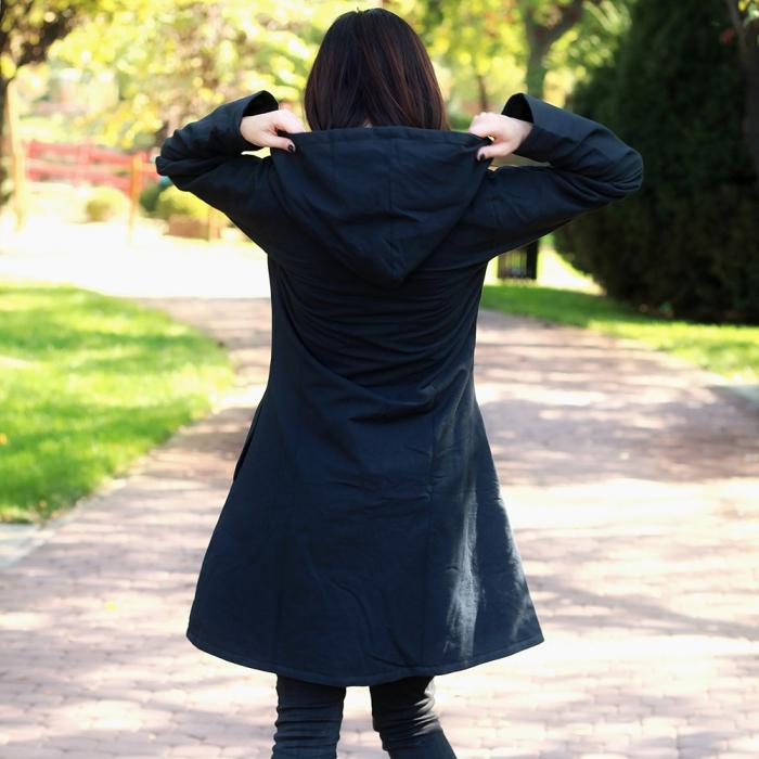 Jacheta de bumbac cu fermoar si broderie florala – BLEUEMARIN 2