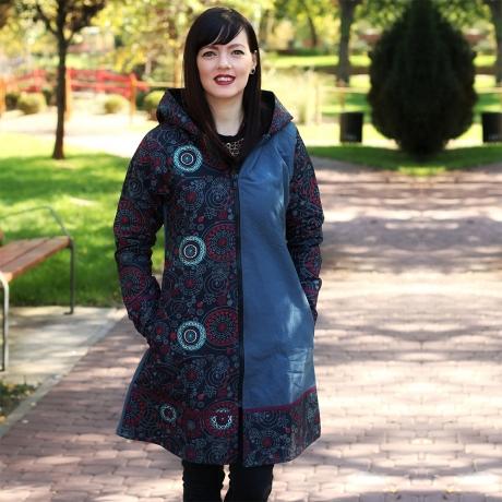Jacheta de bumbac cu fermoar, print abstract – GRI 3