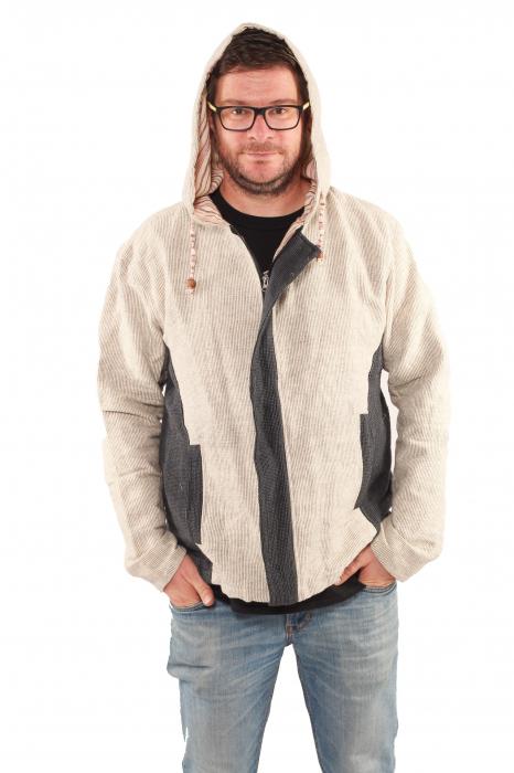 Jacheta barbateasca din bumbac - Gri cu negru 0