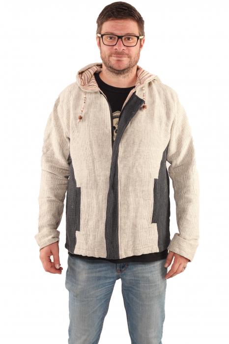 Jacheta barbateasca din bumbac - Gri cu negru 1