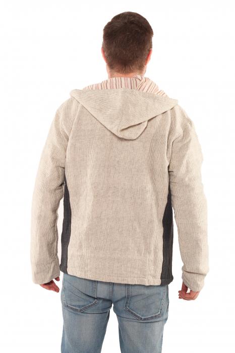 Jacheta barbateasca din bumbac - Gri cu negru 2