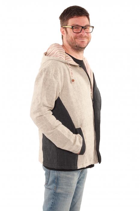 Jacheta barbateasca din bumbac - Gri cu negru 3