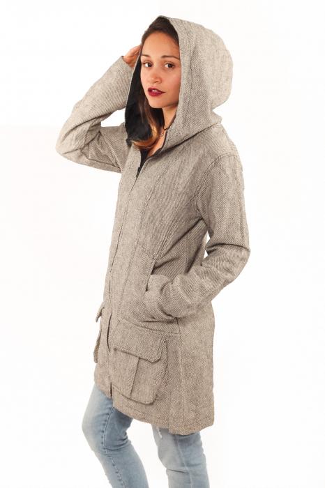 Jacheta femei din bumbac - Gri simpla 2
