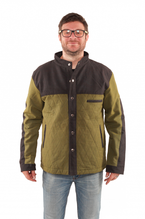 Jacheta barbateasca din bumbac, verde deschis - Geometric [0]