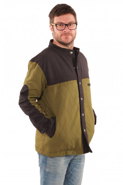 Jacheta barbateasca din bumbac, verde deschis - Geometric 1